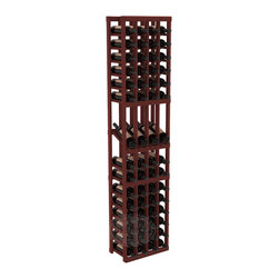 4 Column Display Row Wine Cellar Kit in Redwood with Cherry Stain - Make your best vintage the focal point of your wine cellar. Four of your best bottles are presented at 30° angles on a high-reveal display. Our wine cellar kits are constructed to industry-leading standards. You'll be satisfied with the quality. We guarantee it.