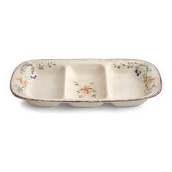Arte Italica - Medici Antipasti - Treat guests to your sumptuous antipasti in this perfectly sectioned serving dish. It's handmade in Italy and features an old-world pattern that adds extra charm to your table.