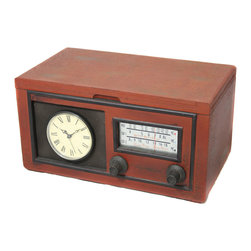 ecWorld - Vintage Radio Replica Storage Box and Working Clock - Inspired by an antique radio, this clock and storage box is a fun idea to uplift your home decor, game room or special office corner. Showcases radio turn dials, clock face on front, with open top storage compartment.