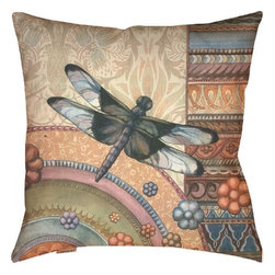 """Manual - Pair of """"Dragonfly Garden"""" 18 Inch Indoor / Outdoor Throw Pillows - This pair of 18 inch by 18 inch woven throw pillows adds a wonderful accent to your home or patio. The pillows have (No Suggestions) weatherproof exteriors, that resist both moisture and fading. They have the same print on both front and back, featuring a beautiful dragonfly against a multicolor patchwork print. They have 100% polyester stuffing. These pillows are crafted with pride in the Blue Ridge Mountains of North Carolina, and add a quality accent to your home. They make great gifts for butterfly or flower lovers."""