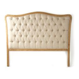 Maison Tufted Queen Headboard - Natural Oak with Natural Linen - Have both the luxe,�cozy look of a padded headboard and the regal tradition of a wooden one with the Maison Tufted Queen Headboard, a charming bedroom piece with a historic look�in solid oak and natural linen.� The tufted fabric of this traditional upholstered headboard fills a frame of natural wood with a classic camel-back silhouette, resulting in a well-turned, tailored look.