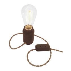 Modkom Interior Decor - The Accent Lamp, Wenge Wood, Edison Light Bulb - Distinct accent lamp for a side table, bar counter, night stand or credenza. Comes in striped Walnut/Ash, Wenge or Black Walnut woods. All lamps have colored fabric wires with a dimmer switch for atmospheric lighting.