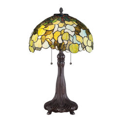 "Quoizel - Quoizel TF1563T Tiffany 16"" Height 2 Light Table Lamp - Specifications:"