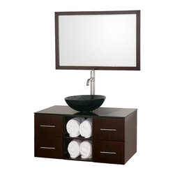 Wyndham Collection - 36 in. Bathroom Vanity Set with Storage Space - Includes one bathroom vanity, one smoke glass sink and matching mirror. Faucets not included. 8 stage painting and coloring process. Modern wall mounted installation. Smoke glass top. Deep doweled drawers. Side mount drawer slides. Soft close doors. Four drawers. Concealed door hinges. Pure white glass counter. Single hole faucet mount. Metal hardware. Made from wood and MDF. Gray, white, espresso and brushed chrome color. Care Instruction. Vanity: 36 in. W x 21 in. D x 23.5 in. H. Mirror: 36 in. W x 24 in. H