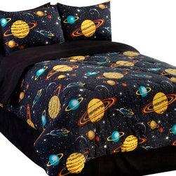 Veratex Inc - 4pc Rocket Star Galaxy Space Bedding Queen Comforter Set - Features: