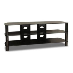 Tech Craft - Sorento 57 Inch Entertainment Base w Dual Cor - Stylish storage and home theater display is just the beginning of this Sorento collection TV stand. 3 spacious glass shelves house your electronic equipment, media and more. A pair of back panels have pre-drilled cable routing holes to help you organize with ease. Sorento Series. 10 mm. Glass for strength and durability. Ample space for components. Easy access to wire management - broad wire management panel. Best for a 58 in. sized TV�۪s and smaller flat panels. 1-Year limited warranty. 57 in. W x 18.75 in. D x 21.75 in. H. Top shelf weight bearing capacity: 160 lbs. Bottom shelves weight bearing capacity: 50 lbs