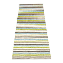 Pappelina - Pappelina Lisa Bathroom Rug - Lime and Vanilla - This outdoor rug from Pappelina contains a basic geographic pattern. It uses PVC-plastic and polyester-warp to give it ultimate durability and cleanability. It's very thin and fairly stiff, but still plenty comfortable to walk on and intreract with in any modern outdoor setting. Can be used indoors in kitchens and bathrooms as well.