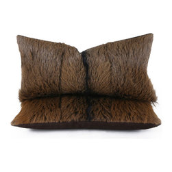 Pfeifer Studio - Goathide Pillow - If you're looking to add a hint of rustic glamour to a room, you can't go wrong with this goat hide pillow. Color variations of chestnut and chocolate brown provide a beautifully neutral palette, while the soft hide provides texture and keeps the look feeling slightly rugged. Overall, it's a great piece to add to any seating arrangement.