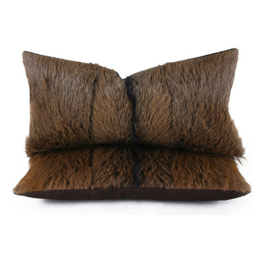 Pfeifer Studio - Goathide Pillow - These handsome pillows are created from furry goat hides seamed in three sections on the front with a brown linen back. The hides are a mix of chestnut brown and black and they have a black stripe in the center. Each is fitted with a medium-fill feather and down inner. Our pillows are each individually handmade-to-order using natural materials, each is considered unique and one-of-a-kind.