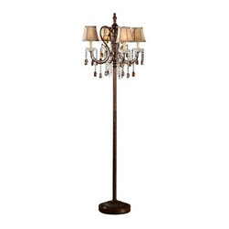 HomeSullivan - Bronze Floor Lamp: 64.25 in. Floor Lamp 40OK-5113F - Shop for Lighting & Fans at The Home Depot. This floor lamp is an elegantly vintage lighting solution for your home. The lamp body features an antique wood bronze finish. Each fixture is reminiscent of candles with tea lamps, with strands featuring small clear round, and larger bronze and clear teardrop crystals hanging from each.