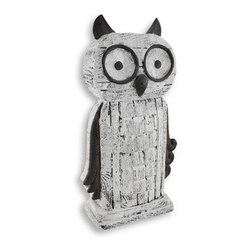 Carved Wood and Iron Look Owl Statue Decoration - This whimsical perched owl would make a wonderful accent to your contemporary style decor when placed on a bookshelf or nesting on a tabletop. Made of cast resin and hand-painted, it is finely detailed to look just like weathered wood with rusted iron accents. This fun statue measures 12 1/2 inches high, 7 inches wide and 3 1/8 inches deep. This owl would make a fine addition to any office or home library!