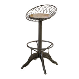 Great Deal Furniture - The Aero Industrial Design Steel Bar Stool - This bar stool is an industrial designed piece that is sure to get attention. Its sturdy steel construction and wood seat, give this stool a unique style, perfect for anyone looking to segue from the ordinary. This piece would make a great addition for you bar, kitchen or dining space.