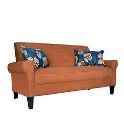 PORTFOLIO - Portfolio Xandra Orange Rust Velvet Sofa - The Xandra sofa is part of the Portfolio Collection. The Xandra sofa features squared arms and is covered in a velvety plush orange rust chenille.