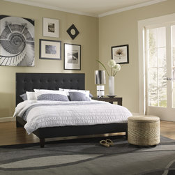 Sleep Sync - Sleep Sync Waverly Upholstered Black Leather Platform Bed - The Waverly Platform Bed is upholstered with black faux leather and has a truly lovely footboard and headboard. This platform bed is the perfect complement for nearly any bedroom set,and you will be fully satisfied with your new style.
