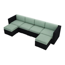 Harmonia Living - Urbana 6 Piece Wicker Patio Sectional Set, Spa Cushions - Finally, outdoor furniture designed to suit your flexible social life. This versatile, durable and elegant set can be configured in so many ways, your patio will become renowned for lively parties.