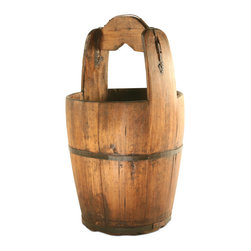 Vintage Wooden Water Bucket - Add a homey, traditional touch to your home's decor with this fantastic wooden vintage water bucket. This exquisite piece is truly one of a kind and will have its own personality and characteristics. Use this as an accent in a den or for storing household items in any room!