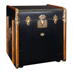 "Authentic Models - Authentic Models Black Stateroom End Table - Victorian luggage was made to be shipped by horse drawn coach and train travel. It was sent ahead and handled by porters only. The tall square shape of our 'end table' trunk was made to fit more easily into tight steamer and long distance train cabins, plus it easily swallowed a tall black stovepipe hat! The classic maple hoops strengthened by brass corners and other hardware were designed to protect against damages. Enjoy the flavor of a bygone luxury age and combine it's fin-de-siecle appeal with practical storage!            *Dimensions: 17.75"" x 21"" x 22"""
