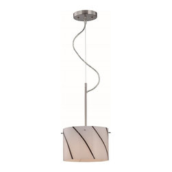 Lite Source - Lite Source Kevina Modern/ Contemporary Pendant Light XSL-04391 - Black and white is always trendy. Find your match with lite source kevina modern/Contemporary pendant light were the shade is made of white glass and decorated by black strips. Complemented with a fine polished steel.