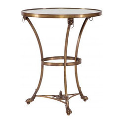 Lilian August - Partridge Café Table - A café table with leonine details is perfect for enjoying elegant delicacies. Crafted of gilded glass and aged brass, it's a charming accent piece for your favorite setting.