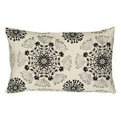 Pillow Decor - Pillow Decor - Waverly Kaleidoscope Tuxedo 12 x 20 Throw Pillow - The Waverly Kaleidoscope Throw Pillow features a woven floral design in silver and black. The background is cream with gray undertones. The fabric is soft yet sturdy and the woven design has a slight sheen giving the pillow depth and richness. This sophisticated color combination makes this a versatile pillow suitable for both formal and casual decor styles. *Pillow dimensions always refer to the pillow cover's width and length while lying flat unstuffed and are rounded up to the nearest whole inch.