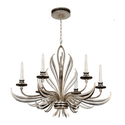 Fine Art Lamps - Villandry Silver Chandelier, 815940ST - A joyous spray of stylized metal leaves animates this delightful chandelier. Sultry black metal is tinged with antique silver leaf, or vice versa, for added allure. The light is supplied by six handblown ribbed-glass candles, each equipped with a dimmable halogen bulb.