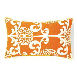 Jiti - Floret Orange Pillow - Jazz up your home decor with our Floret Orange Pillow!  Made from 100% Cotton. Invisible Zipper. DRY CLEAN ONLY. Insert is made of 95% feathers and 5% down.