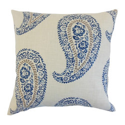 """The Pillow Collection - Neith Geometric Pillow, Indigo 18"""" x 18"""" - With a unique and fun pattern, in shades of blue, brown and white, this throw pillow brings a relaxing vibe to your home."""