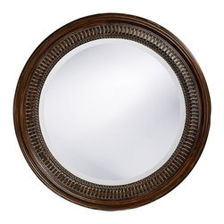 Howard Elliott - Howard Elliott 2172 Monmouth Antique Brown Mirror w/ Black - Antique Brown Mirror w/ Black belongs to Monmouth Collection by Howard Elliott This Transitional Mirror features a round frame carved with a simple design and finished in a distressed antique brown with black highlights. Mirror (1)