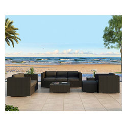 Urbana 5-Piece Outdoor Wicker Sofa Set, Charcoal Cushions