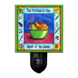 "Kitchen is the Heart of the Home Night Light - Our happy Kitchen Night Light will brighten the room with a warm glow. It reads ""The Kitchen is the Heart of the Home\"". Made of a print of original painting which is sandwiched in between two layers of durable acrylic, the light is UL approved and comes with a standard four watt night light bulb. Gift box included. Made in the USA. (Be sure to look for our kitchen wall clock, too!)"