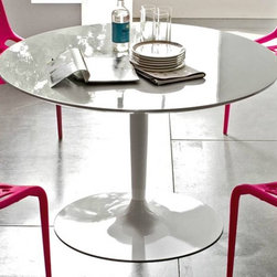 Calligaris - Planet Round Top Dining Table (Optic White) - Choose Top: Optic WhitePictured in Optic White finished top. Glossy Optic White base. Features a round top that seats all guests comfortably even when numbers are odd. It rests on a pedestal base fitted with a weighted metal base plate. Assembly required. 47.2 in. Dia. x 29.5 in. H