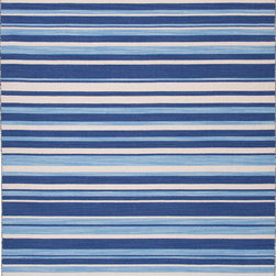 Jaipur Rugs - Flat Weave Stripe Pattern Blue Wool Handmade Rug - PV41, 9x12 - Bold color is the name of the game with Pura Vida. This beautiful collection of durable, reversible flat-woven dhurries combines the classic simplicity of linear patterns with a decidedly modern palette for a look that's at once casual and sophisticated.
