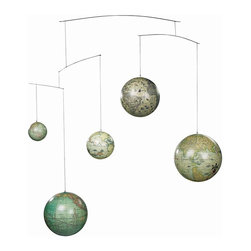 Authentic Models - Five Globes On A Hanging Mobile - Five globes.... from five different centuries... your child will surely have at what to look in bed! Great to hang it up as a mobile for kids or to display it in your living room area as well. Different style globes in colors, hues and specifications make a fascinating and elegant object. This item is made of plastic, metal and string which measures 42.5 x 7.1 x 35.4''.