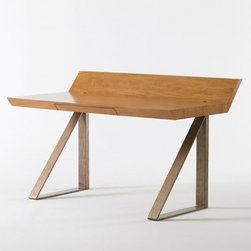 Work Horse Desk - I love the clean lines and geometric triangular legs on this mid-century inspired desk. Perfect for an archtiect, or for someone who wishes they were an architect.