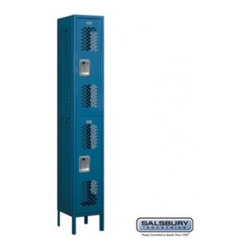 Salsbury Industries - Vented Metal Locker - Double Tier - 1 Wide - 6 Feet High - 12 Inches Deep - Blue - Vented Metal Locker - Double Tier - 1 Wide - 6 Feet High - 12 Inches Deep - Blue - Assembled