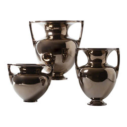 Studio A - Grecian Amphora, Bronze, Small - Super refined classic silhouettes are reinterpreted in a contemporary glaze. An intricate crackle can be seen through the Metallic Bronze Reactive Glaze. Made of fine Portuguese ceramic. Each size sold separately.