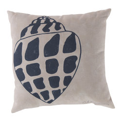 """Surya - Square Decorative Pillow RG-014 - 20"""" x 20"""" - Enjoy a tranquil reminder of the beach in your space with this charming shell pillow. Featuring a shell design colored in nautical navy and splashed across a cool beige backdrop, this piece is sure to pop within any room. This pillow contains a Virgin Poly Styrene Bead fill providing a reliable and affordable solution to updating your indoor or outdoor decor."""