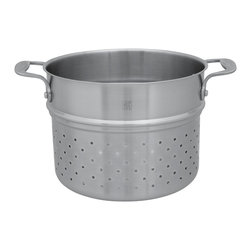 Henckels - Henckels Spirit Pasta Insert (Fits 6 Qt. Dutch Oven) - This is an essential tool for pasta lovers. The deep, perforated insert fits all the way inside your 6-quart soup pot so that you can boil a family-sized amount of pasta. When it's done, grip the stay-cool, riveted double handles and lift up, letting the water drain quickly through the holes. Bon appétit!