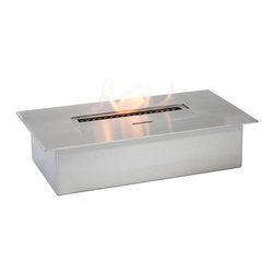 "Ignis Fireplaces - Ignis EB1400, Ethanol Fireplace Burner Insert - This EB1400 Ethanol Fireplace Burner Insert can be inserted into an existing wood-burning fireplace to give you a clean eco-friendly means for heating your space. You can also use this modern sleek insert in a fireplace of your own design. It holds three full liters of fuel and it burns for up to nine hours so you can stay warm and toasty all day long all season long. This 6 000-BTU unit is ventless so you don't need a chimney electric lines or gas lines to use it and it can be operated with little or even no maintenance for a long time. For your convenience it comes with a damper tool. Dimensions: 13 3/4"" x 7 1/4"" x 3 1/4""."