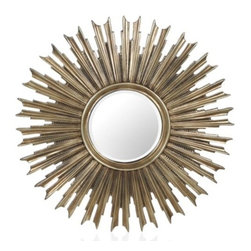 Z Gallerie - Avila Mirror - With off shooting arms surrounding a round center mirror, our Avila Mirror inspiration comes from a stunning display of rays of light.  Decoratively coated with a soft antique silver finish, our Avila Mirror is bursting with a textured style.  Featuring fluted fingers separated by shorter textured pieces, each piece adds dimension to the stylish mirror.