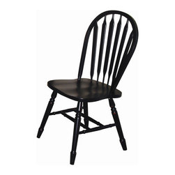 Sunset Trading Sunset Selections Arrow Back Side Chair, Antique Black - Try black chairs to enhance a white dining table. I love these sleek and shiny ones. The Windsor look is timeless.