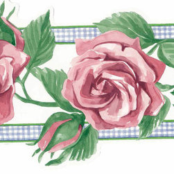 York Wallcoverings - Pink Rose Green Leaf Wallpaper Border - Wallpaper borders bring color, character and detail to a room with exciting new look for your walls - easier and quicker then ever.