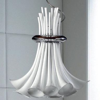 Zante Suspension by Av Mazzega - Zante Suspension is made from handmade glass with a chrome frame and is available in white, crystal or amber finish options. Also available in a 12-light or 18-light versions. Either (12) or (18) 10-watt, 12 volt G9 incandescent bulbs are required, but not included. Dimensions: 12-light: 29.9W x 41.4. 18-light: 32.3W x 45.3H.