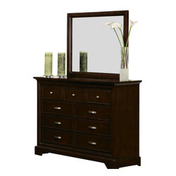 Homelegance - Homelegance Glamour Dresser with Mirror in Espresso - The beauty of the Glamour collection lies in the simple lines and style. The Panel headboard and footboard feature a metal grid pattern to give your bedroom suite an added touch of characteristic.