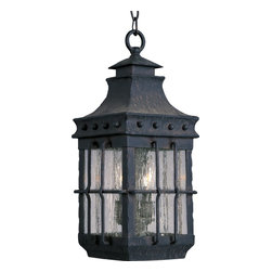 Maxim Lighting - Maxim Lighting Nantucket Forged Iron Traditional Outdoor Pendant Light X-FCDC880 - A quaint and rustic outdoor traditional pendant light, Maxim Lighting brings to you the Nantucket. Crafted out of forged iron, this pendant light is a traditional, early America styled fixture. The iron features Seedy glass and is finished in Country Forge. Be sure to add this coastal fixture to your outdoor collection!