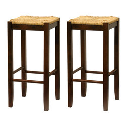 Winsome Wood - Winsome Wood Set of 2 - 29 Inch Rush Seat Stool - This classic design stool has woven rush seat top with its broad square seat. Its adds traditional feel to any kitchen. Warm walnut finish.  Barstool (2)