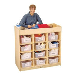Jonti-Craft Changing Table with 12 Tubs - Take the hassle out of your daycare's endless diaper-changing duty with the Jonti-Craft Changing Station with Tubs. This station stands at the perfect height for changing diapers meaning you won't have to strain your back by bending over all the time. Twelve clear tubs fit neatly into cubbies keeping changing supplies for all your little charges organized and accessible. The extra deep rails on top exceed recommended safety standards for supreme security. A safety strap and blue changing pad are also included.Made of sturdy birch wood this stationary changer has been constructed using an innovative dowel pin technique to increase the strength of the furniture by 30%. Rounded KydzSafe edges prevent injury. The KydzTuff finish is the same as the coating used on gym floors and resists stains won't yellow and is easy to clean.About Jonti-CraftFamily-owned and operated out of Wabasso Minn. Jonti-Craft is a leading provider of quality furniture for the early learning market. They offer a wide selection of creatively designed products in both wood and laminate materials. Their products are packed with features that make them safe functional and affordable. Jonti-Craft products are built using the strongest construction techniques available to ensure that your furniture purchase will last a lifetime.