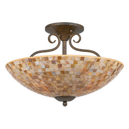 Quoizel - Quoizel MY1718ML Monterey Mosaic Traditional Semi Flush Mount Ceiling Light - The lovely mosaic design on the glass shades is made from genuine pen shell, bringing the beauty of nature into your home. The playful curls of the metal body add a whimsical element to the overall style. Its looks as wonderful in a beach house as it does in a modern loft.