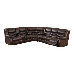 "ACPPulsar - 3 pc pulsar brown bonded leather upholstered sectional sofa with recliners - 3 pc pulsar brown bonded leather upholstered sectional sofa with recliners on the ends and overstuffed arms and backs. This set features a sofa with recliners on the ends with overstuffed arms and backs and love seat with center console and recliners on the ends. sofa measures 88"" x 38"" x 38"" H. love seat measures 77"" x 38"" x 38"" H. Corner wedge measures 67"" x 38"" x 38"" H.  Some assembly required."