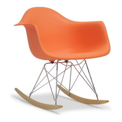 "Baxton Studio - Baxton Studio Miri Orange Plastic Mid-Century Modern Rocking Chair - A minimalistic, contemporary rocking chair, this design will maximize style and the number of head-turns. The modern rocker sits low to the ground and is crafted with a fun bright orange molded plastic shell seat over a supportive chrome-plated steel base support. The whimsical rocking feature is supported by light-stained ash wood rockers. Our Miri Mid-Century Rocker is made in China and requires assembly. This item is also available in white, light blue, and orange (each sold separately). Maintain this designer rocker by simply wiping clean with a damp cloth. Product dimension: 24.68""W x 27""D x27""H, seat dimension: 18""W x 18.75""D x 16.25""H, arm height: 23.5"""